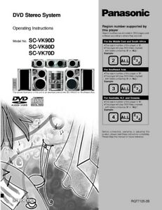 Details about Panasonic SA-VK70D SA-VK80D SA-VK90D DVD System Owners  Instruction Manual