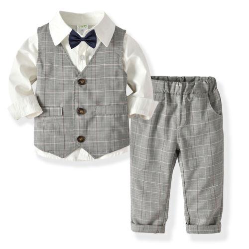 Pants Clothes Set 3PCS Kids Baby Boy Gentleman Outfits Grid Vest+Shirt Tops