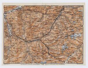 ORIGINAL ANTIQUE MAP OF GRAUBUENDEN CHUR DAVOS AROSA ALPS - Chur map