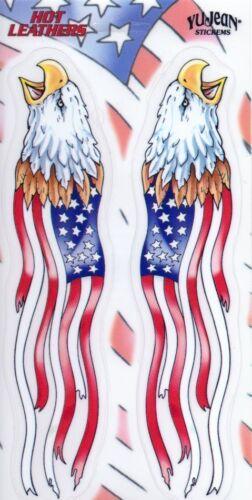 Aufkleber Hot Leathers Flag Eagles Biker11,4x22,2 cm Yujean Army USA Harly