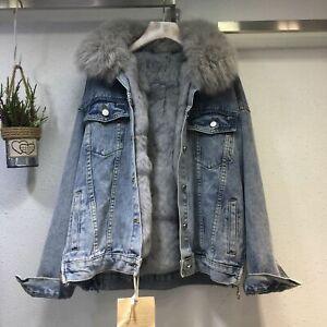 Women Winter Warm Denim Jacket Faux Fur Collar Casual Denim Trucker Jacket Coat