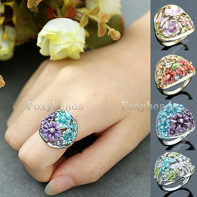 Womens Silvery Golden Oil Paintings Crystal Colorful Flower Finger Ring us6-7.5