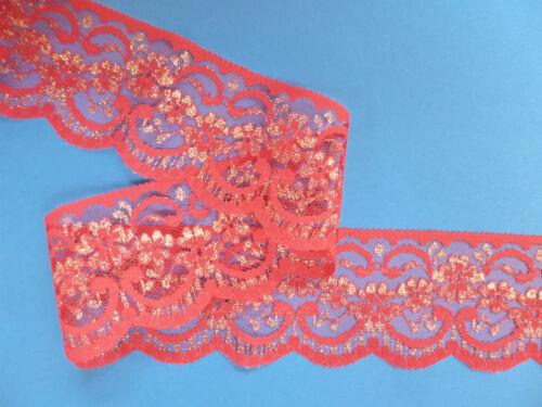 """5 metros-Bonito Rojo Y Oro Flor Nottingham Ribete de Encaje 2.5/""""//6cm Top Seller"""