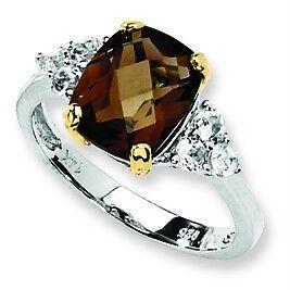 .925 Sterling Silver & 14K Yellow Gold Smokey Quartz & White Topaz Ring Size 8