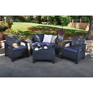 Image Is Loading Dark Grey Resin Wicker Patio Conversation Seating Set