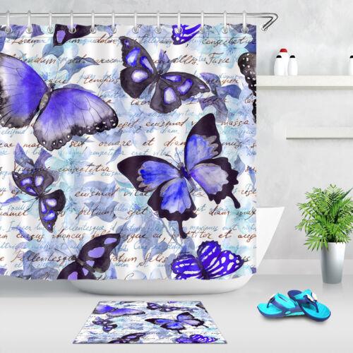 Butterflies Written Shower Curtain Set Polyester Bathroom Accessories Extra Long