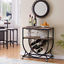 serving rolling cart trolley rack w/ wine glass holder for home hotel bar club