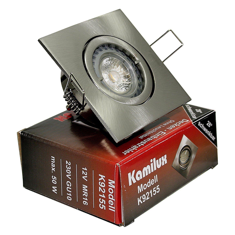 9x Einbaustrahler Max-Square GU10 Farbe Edelstahl geb. 230V IP20 Dimmbare Power | Exquisite (mittlere) Verarbeitung  |   | Qualität und Quantität garantiert