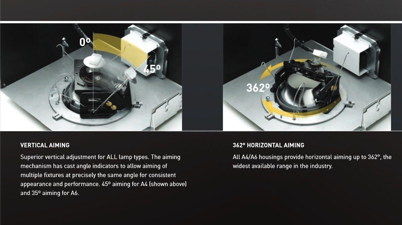 Prescolite Hubbell Architektur Serie Ajustable A6 vivienda a6st Ajustable Serie Downlight 2e7176