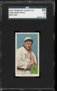 1909-11 T206 Larry Doyle With Bat Piedmont 350 New York National SGC 60 / 5 EX