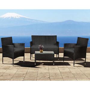 Polyrattan Gartenmöbel Lounge Tisch Sitzgruppe Rattan Poly Schwarz ...