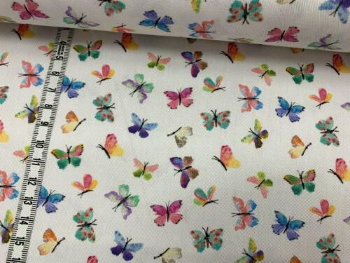 ähnlich wie Jeans bunte kleine Schmetterlinge auf weiß Baumwollstoff