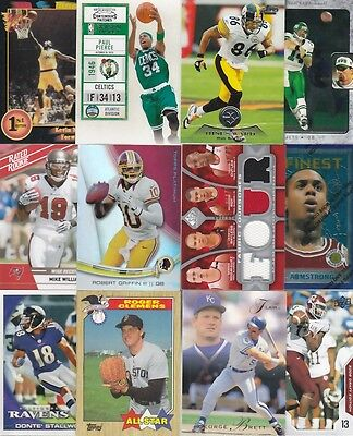 HUGE SPORTS CARD LOT COLLECTION BRADY JETER KOBE MANNING JORDAN W/ 30 GU  AUTO