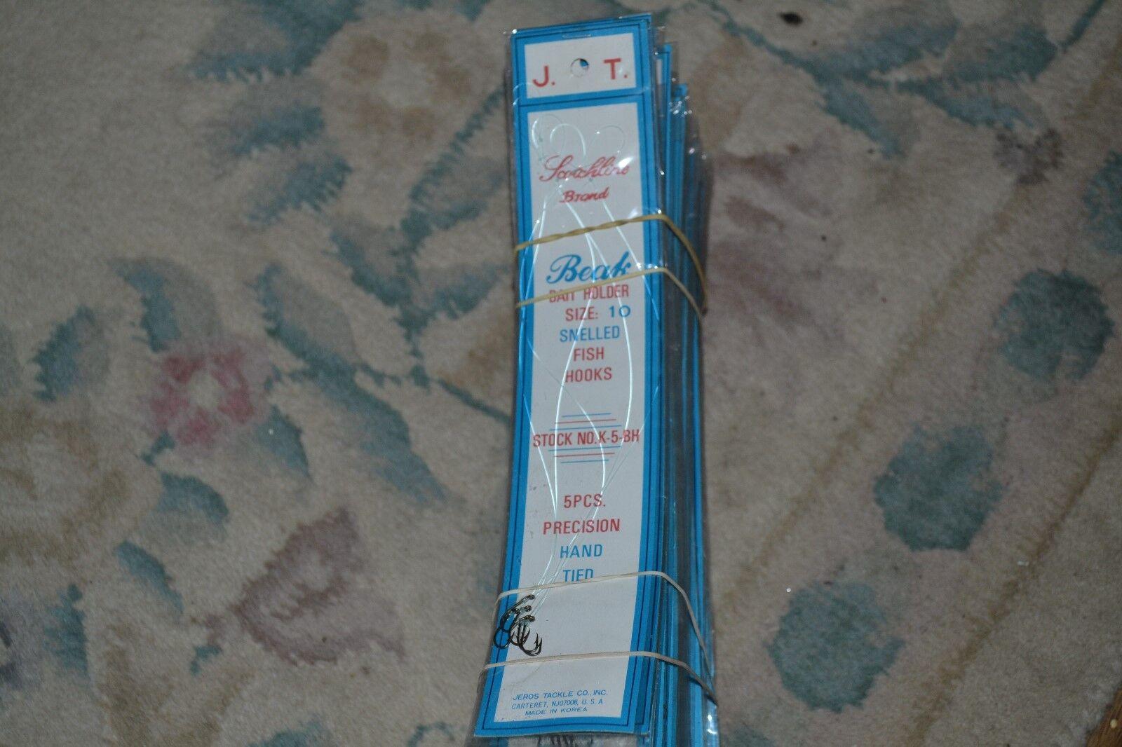 80 paquetes de tamaño 10 Lote schotchline Bronceado Cebo Pesca Anzuelos titular Snelled