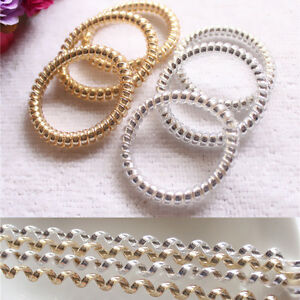 10X Gold/Silver Women Girl Elastic Rubber Hair Ties Band Ropes Ponytail Holder&