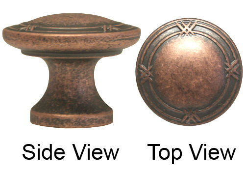 """Antique Copper Machined 1 1//4/"""" Ribbon /& Reed Round Knobs 33mm"""
