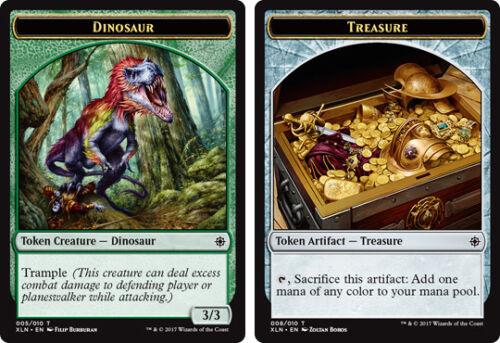 4 x Dinosaur Common 005//001 Treasure Token 008//010 - Explorers of Ixalan