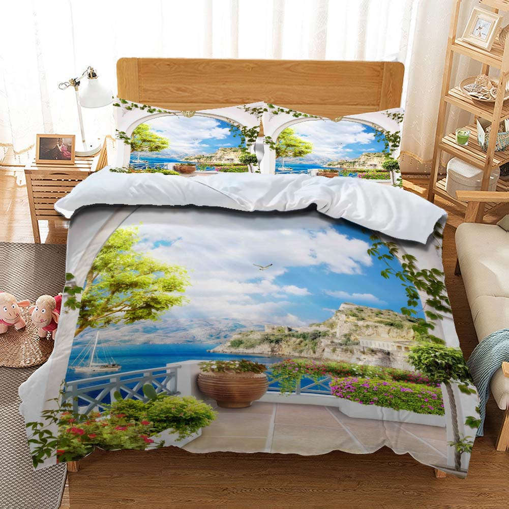 Island Cloud Sea3D Printing Duvet Quilt Doona Covers Pillow Case Bedding Sets