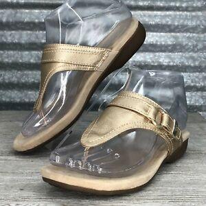 St-John-Bay-Women-039-s-Vegan-Leather-Comfort-Slides-Metallic-Gold-T-Strap-Size-6-5