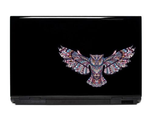 Ornate Flying Owl Vinyl Laptop or Automotive Art sticker decal computer auto