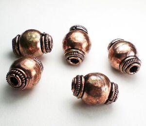 3 Large Hole Copper Bead 15mm  GC-372 Genuine Copper Barrel Bead