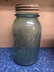 Image Is Loading Vintage Blue Gl Ball Perfect Mason Quart Size