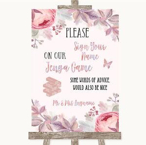 Blush Rose Oro & Lilla Jenga guest BOOK nozze personalizzata Segno  </span>