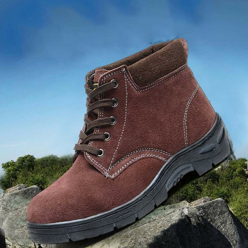 Men's Suede Leather Winter Ankle Martin Boots Anti-Smashing Safety Work shoes