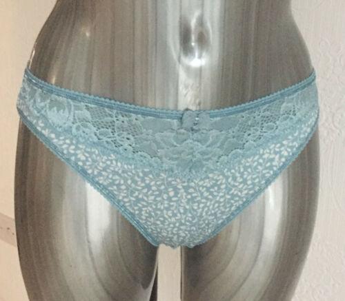M/&S Sze 8 10 14 20 24 Soft Slinky Lace Trim High Leg Briefs Knickers Blue//Green