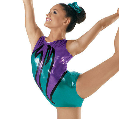 NEW Aly Zig Zag Waves Purple Teal Green Black Foil Dance Gymnastics Leotard