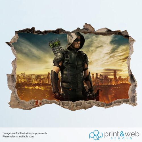 Green arrow mur smash decal autocollant 3D chambre vinyle murale art