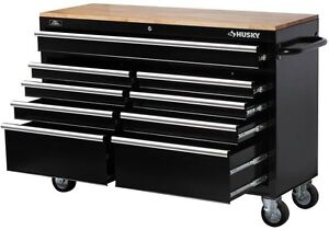 """husky 52"""" tool box 9-drawer rolling toolbox storage cabinet"""