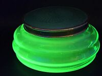 ANTIQUE ART DECO URANIUM GLASS & GUILLOCHE ENAMEL GLASS BOX C.1930's