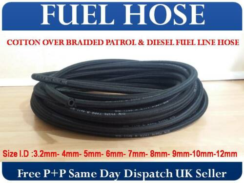 Algodón Trenzado goma combustible Tubos De Gasolina Diesel línea sin plomo aceite Manguera Reino Unido