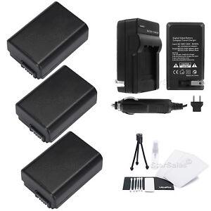 3x Np-fw50 Batería Bonus f//sony Alpha Slt-a33 A37 A55 A5000 dsc-rx10 Cargador