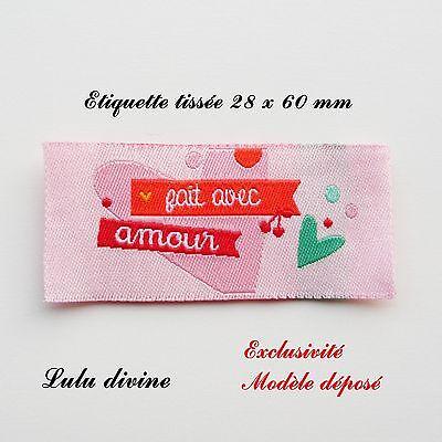 fait pour moi rose poupée Lot de 2 Etiquette tissée 28 x 60 mm