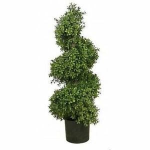 Outdoor Topiary Trees With Lights 36 artificial wide boxwood outdoor topiary tree plant uv spiral 3 image is loading 36 034 artificial wide boxwood outdoor topiary tree workwithnaturefo