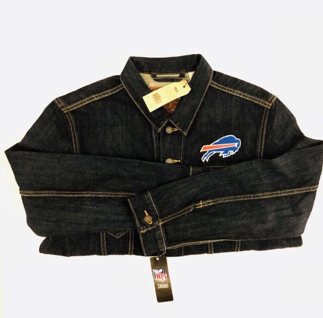 d392b6f7 Buffalo Bills Levis NFL Trucker Jean Jacket Dark Blue Denim Cotton Sport  Mens XL