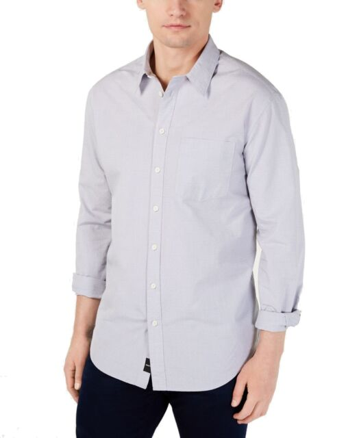 DKNY Mens Large Printed One Pocket Button Down Shirt Whites