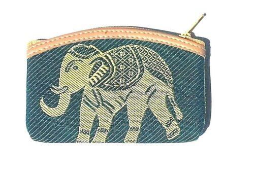 Denim blue cotton coin purse with elephant design