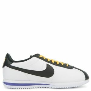 cheaper c3c89 d81c6 Image is loading Nike-Cortez-Leather-LAKERS-RAVENS-WHITE-PURPLE-YELLOW-