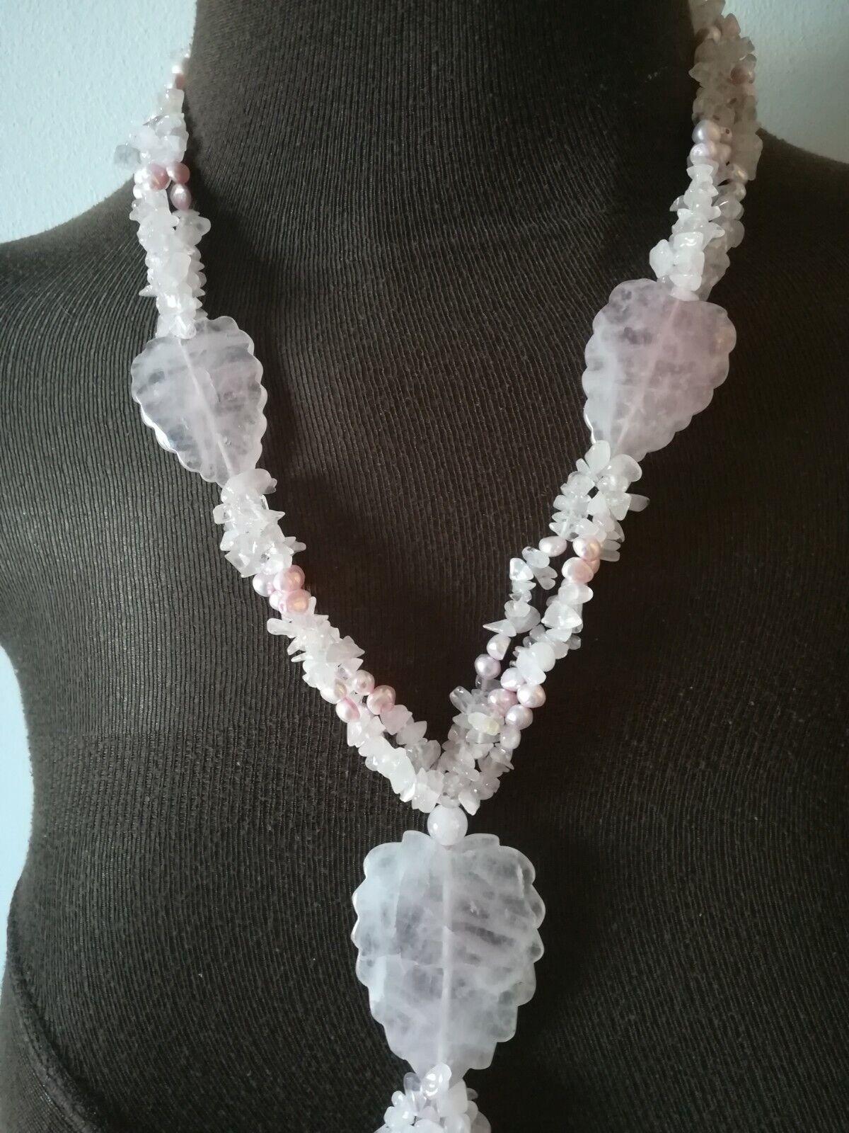 Collana Collana Collana grande a 3 fili  in quarzo rosa 2f0b72