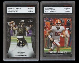 TREVOR LAWRENCE 2021 LEAF iCARD/2018 ALL-AMERICAN 1ST GRADED 10 ROOKIE CARD LOT