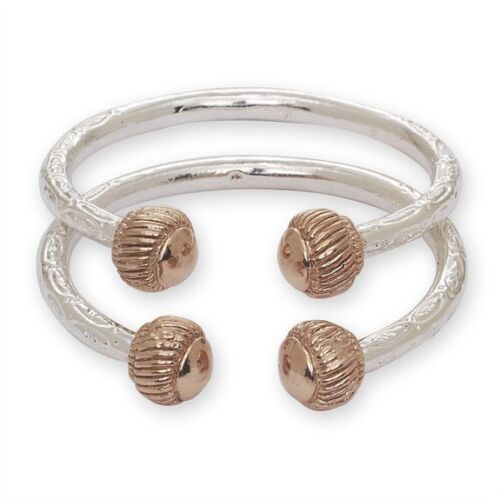 Pair MADE IN USA Heave Ridged Ball .925 Sterling Silver West Indian Bangles