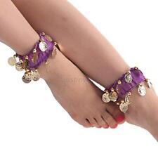 Women Dark Purple Belly Dance Anklets Dangling Coins Gypsy Tribal Bracelet