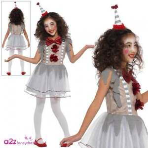 Halloween Clown Girl Outfit.Details About New Girls Vintage Clown Costume Kids Scary Halloween Horror Fancy Dress Outfit