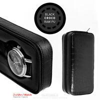 Watch travel case watch pouch watch box 2 Slot black leather CROCO storage case