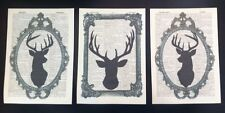 3 X Stag Head Deer Prints Vintage Dictionary Page Wall Art Pictures Silhouettes