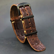 Leather watch Strap, Military Wristwatch band,Handmade 18/20/22/24 mm brown