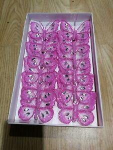 8 Cm X12 Décoratif Paillettes Bijoux Clip-on B/fly Papillons Mariage Rose-afficher Le Titre D'origine